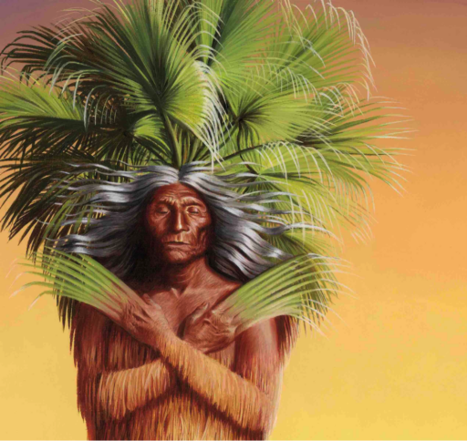 Color illustration of half-man half-palm being with fronds growing out of his hands and head