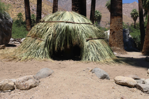 Dome-shaped dwelling made of palm fronds at end of rock-lined walkway in grove of palm trees